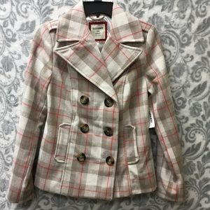 NWT Old Navy polyester/wool coat pink/cream/tan